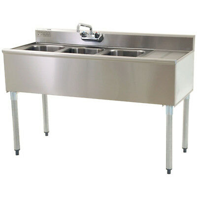 """Stainless Steel 3 Compartment Underbar Sink 48"""" x 20"""" with Right Drainboard"""