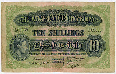 EAST AFRICA BRITISH 1952 KING GEORGE VI 10 SHILLINGS SCARCE NOTE VF.PICK#29b.