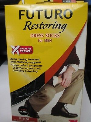 Futuro Restoring Dress Socks for Men. Size Large Black . Firm 71036