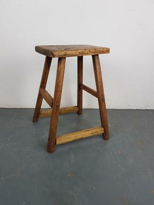 Vintage Rustic Antique Wooden Stool Milking Large Waxed W87