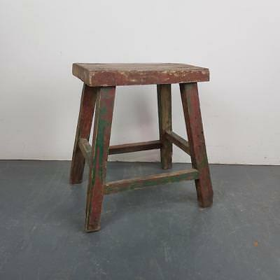 VINTAGE RUSTIC ANTIQUE WOODEN STOOL MILKING EXTRA LARGE No L209