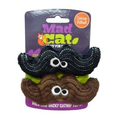 Mad Cat Meowstache Catnip & Silverine Cat Toy - Twin pack - Brown & Black Stache