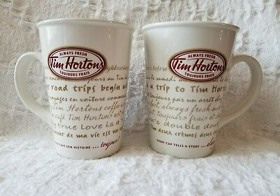 Set Of 2 Tim Hortons, Limited Edition 2009 #'009 'road Trip' Coffee Mugs