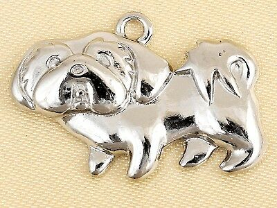 Shih Tzu Dog Pets Charms Silver Plated Charm Bracelet Pendant with Loop W/Ring