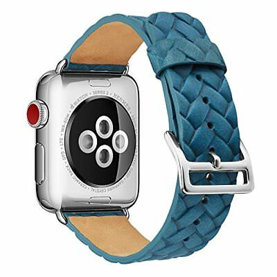 Apple Watch Band 38mm Woven Texture Genuine Leather Strap Sports, Blue