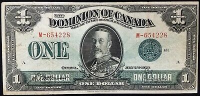 1923 $1.00 Dominion of Canada paper note! Green seal!