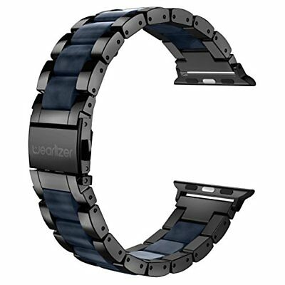 Apple Watch Band 42mm Luxury Metal Stainless Steel Strap, Black + Dark Blue