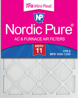 10x20x1 (9_1/2x19_1/2) Tru Mini Pleat MERV 11 AC Furnace Air Filters 3 Pack