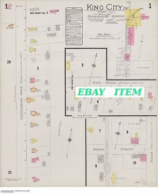 KING CITY ONTARIO ( York County ) TWO Street Maps 1912