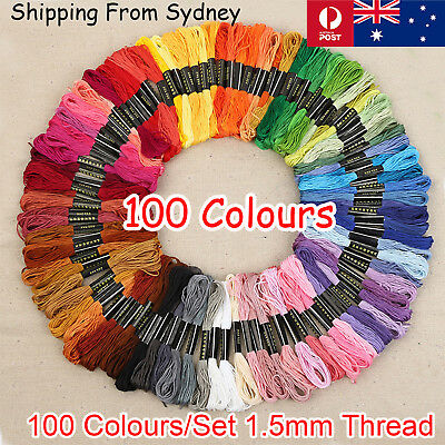 100 Multi Colours Sewing Threads Roll Set Assorted DIY Spools Polyester Reels Bo