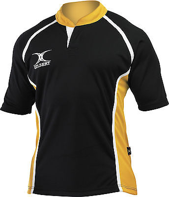 Clearance Line New Gilbert Rugby Xact Shirt Black/ Yellow - Various Sizes