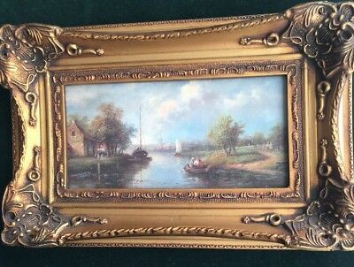 Vintage Ornate Gilt Framed Oil on Board Painting Canal Scene Signed C Leickert