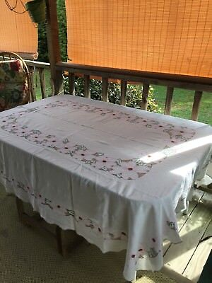Vintage Cotton Hand Stitched Embroidered Farmhouse Pink Dogwood Blooms