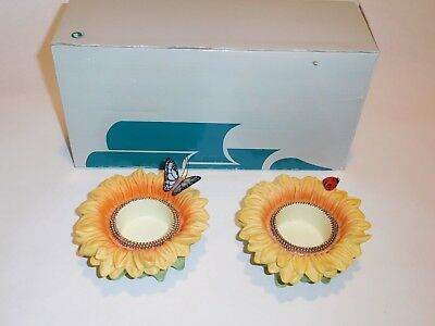 PartyLite Sunflower Buddies Ladybug & Butterfly-2 Tealight Candle Holders P7119