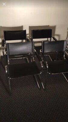 Vintage MCM Eames Style Set Of Four Learher And Chrome Chairs