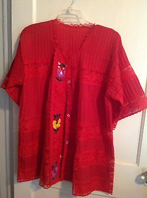 Mexican jacket button front pin tucks sheer lace Sz XL Red