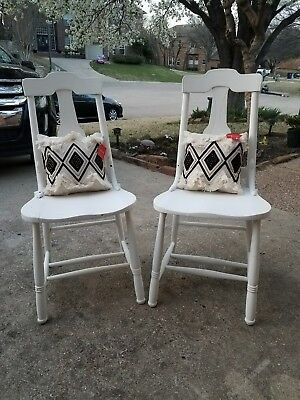 Set of Antique Refinished Chairs, Pillows Included!