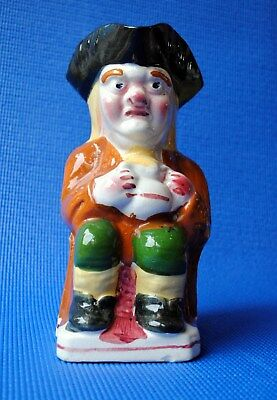 Nice, large, cheerful, antique Toby jug. Mid-C19th. Prob. Staffordshire pottery.