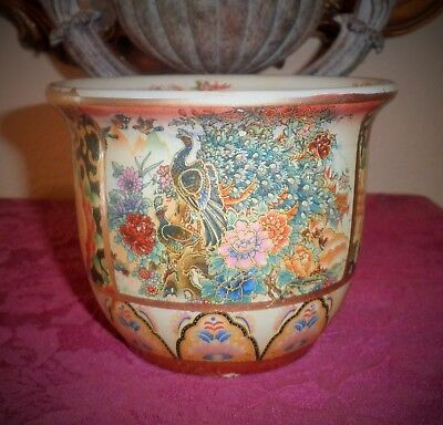 Old Beautiful Chinese Famille Rose Pottery Bird Motif-Painted Scene Of Flowers P
