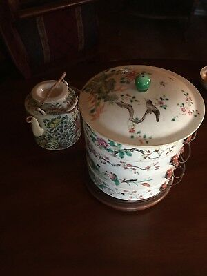 Antique 18th- 19th Century Chinese Rose Medallion Stacking Bowls & Tea Pot.