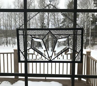 Small Stained Glass Beveled Window Panel With Clear Textured Glass