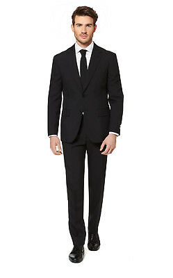 New In Box Oppo Suits Black Knight  With Tie Prom Wedding Vegas 42 46 50 Slim