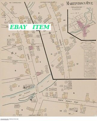 ONTARIO MARTINTOWN STORMONT/DUNDAS/GLENGARRY TWO Old Street & Building Map 1885