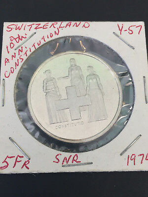 1974 Switzerland 5 Franc Coin 100Th Anniversary Revision Of Constitution