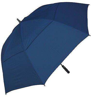 RainStoppers W026 Auto Open Double Canopy Windbuster Golf Arc Umbrella, Navy, 68