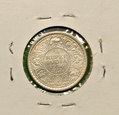 Nice British India 1/4 Rupee Silver Coin 1936 Vintage Old Empire !!