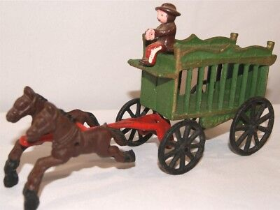 Vintage Cast Iron Circus Wagon and Horse Drawn Wagon & Driver - Green & Red