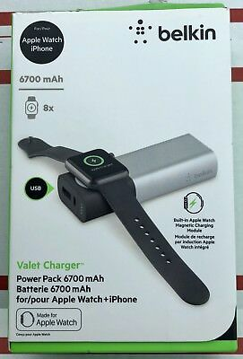 NEW Belkin Valet Charger *NEW* Power Pack 6700mAh for Apple Watch + iPhone