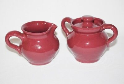 BYBEE POTTERY - Burgundy Creamer and Sugar Bowl with Lid - MINT