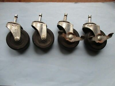 "Set of 4 - 3"" Hard Rubber  Wagner Stem/Swivel Casters  2 Brakes"