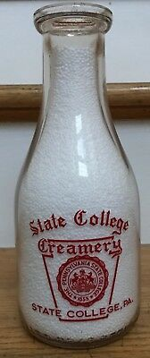 Vintage Penn State College PA TRPQ Creamery Quart Milk Bottle