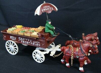 Vintage Cast Iron Fresh Fruits Vegetables Groceries Horse Drawn Wagon - Cheap!