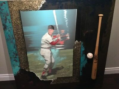 STAN MUSIAL AUTOGRAPHED PAINTING (one of a kind)