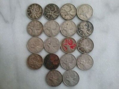 Lot of 18 ~ Canada ~ 1940s ~ 25 Cents ~ 80% Silver Coins ~ Quarters ~ $4.50 FV