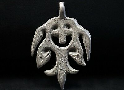 Ancient Viking Hammered Silver CROSS. Twisted Amulet Pendant, circa 950-1000 AD.