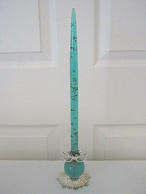 "Mid Mod Turquoise & Gold Flake Lucite Acrylic Taper Candle 17 "" with Silver Base"