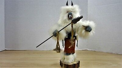 """Native American  Vintage B. Yazzie Signed White Wolf & Spear Kachina Doll 9 """""""