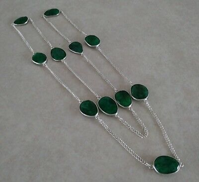 "Natural Green Emerald 925 Sterling Silver Long Chain Necklace 28"" 30"" 32"" Choose"