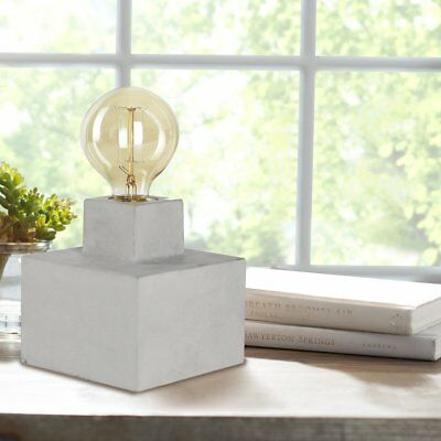 Table Lamp Industrial Design with Vintage Edison Globes Concrete Base, 40 Watts