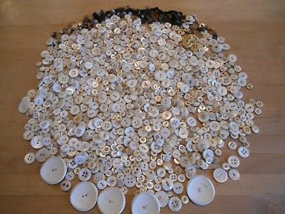 Large Antique Lot of Mostly White Vintage buttons, Some Plastic/Metal