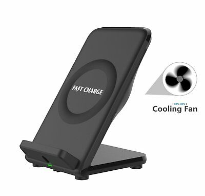 2 Coils Qi Wireless Fast Charger Stand with Built-in Cooling Fan for Samsung 8 X