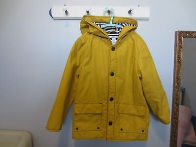 Boys Janie and Jack Raincoat/lined -yellow with white/navy stripes -Size 4T-5T
