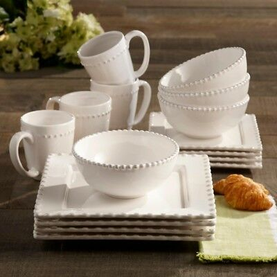 White Square Dinner Plate Set Kitchen Dining Serving Dishes Dinnerware  Chinaware