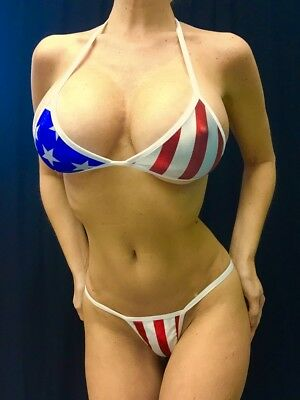 New Stripper Exotic Dancer Stars/stripes Metallic Thong Set A/b Top Y Back