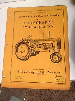 Original Massey Harris 30 & 30K Instructions for the Care & Operation Manual