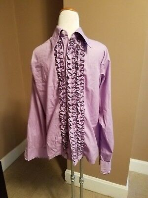 Mens 1970s Vintage Purple Ruffled Tuxedo Wedding Prom Shirt Size Large